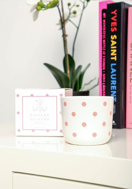 Rose Polka Dot Pink Petal Scented Soy Candle
