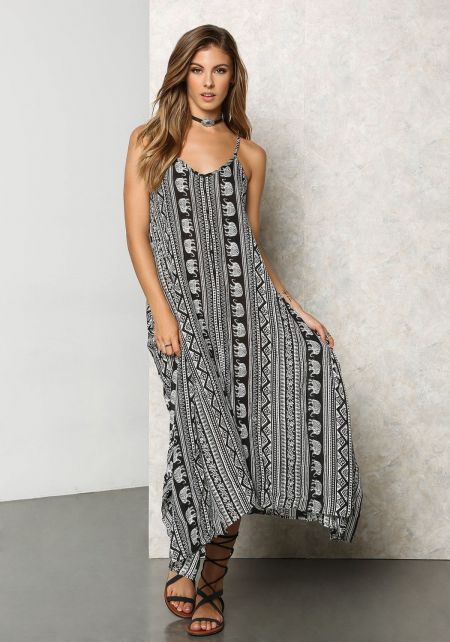 Black and White Tribal Print Slit Maxi Dress