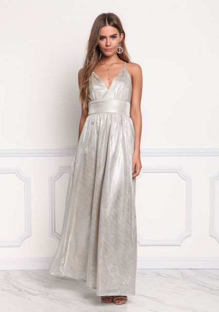 Silver Grid Metallic Cross Strap Maxi Gown
