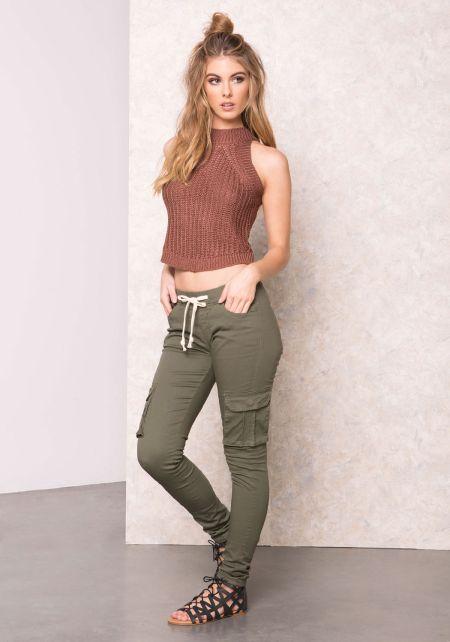 Brown Knit Turtleneck Crop Top