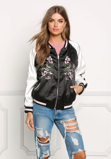 Black and Ivory Reversible Souvenir Jacket