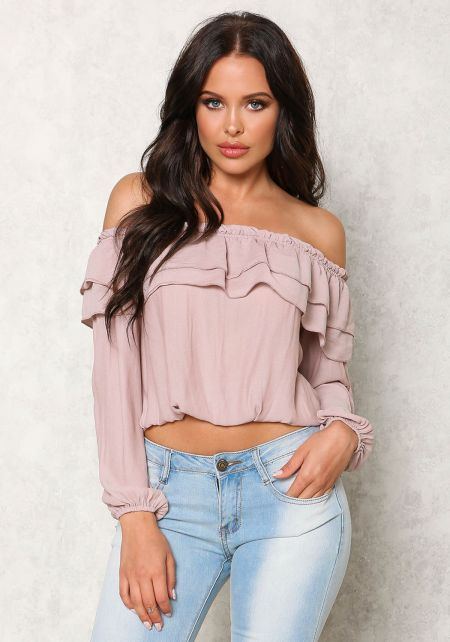 Dusty Pink Ruffle Off Shoulder Crop Top