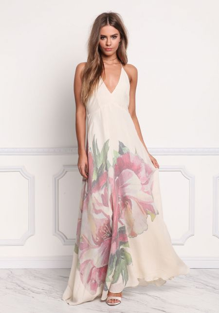 Cream Rose Open Back Halter Maxi Dress