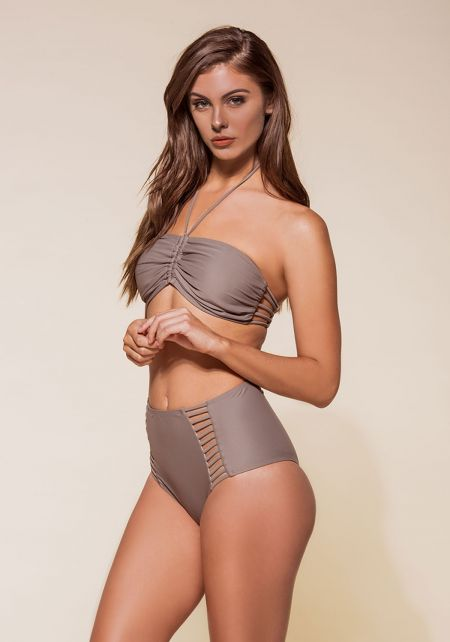 Mocha Ruched Halter High Waist Bikini Set