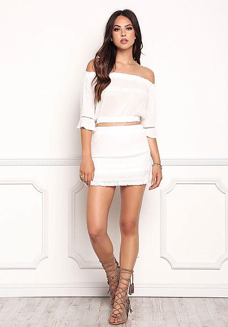 Ivory Crepe Crochet Trim Mini Skirt
