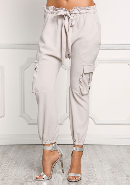 Silver Ruched Woven Jogger Pants