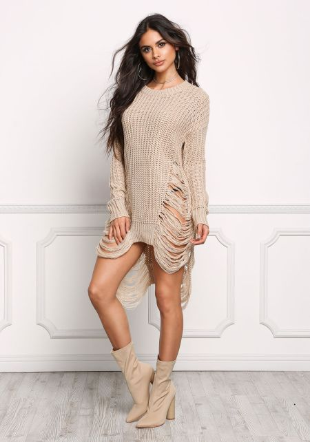 Khaki Frayed Thick Sweater Top