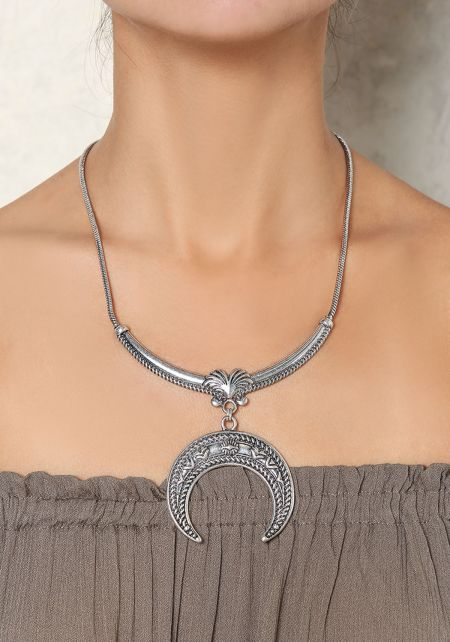Silver Engraved Moon Necklace