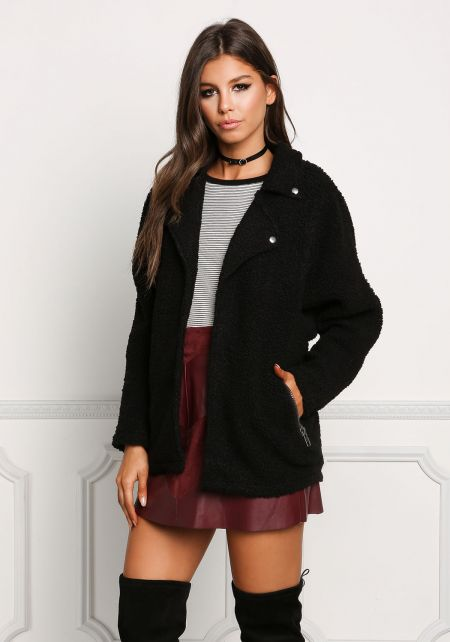 Black Soft Textured Knit Jacket