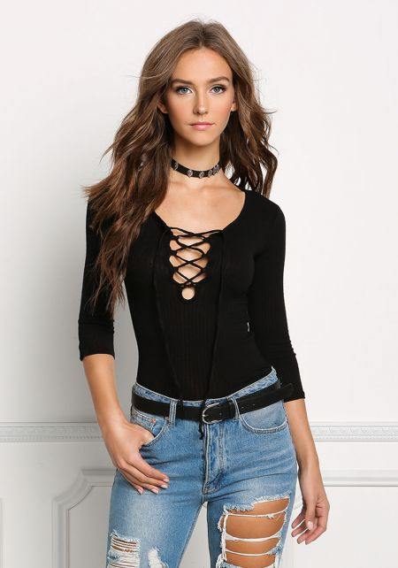 Black Ribbed Knit Lace Up Top