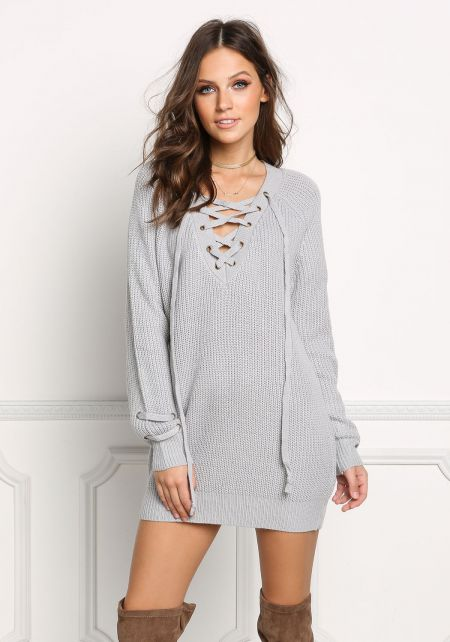 Light Grey Chunky Knit Lace Up Sweater Top