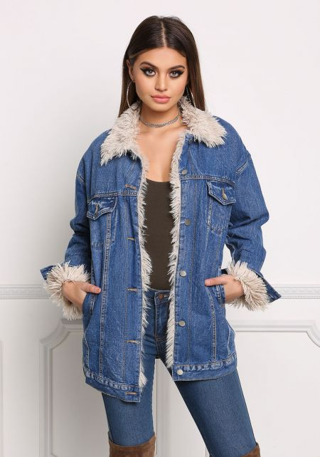 Denim Shaggy Faux Fur Jacket