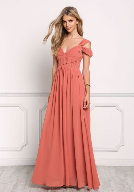 Dusty Rose Pleated Draped Maxi Dress