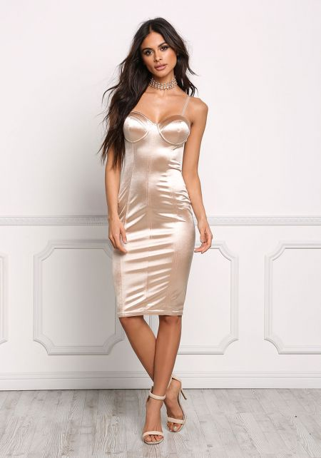 Taupe Satin Bustier Bodycon Dress