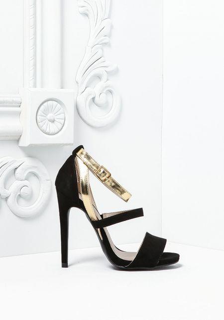 Black Suedette Metallic Ankle Strap Heels