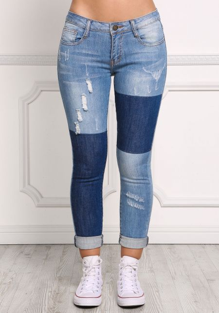 Denim Two Tone Patched Skinny Jeans