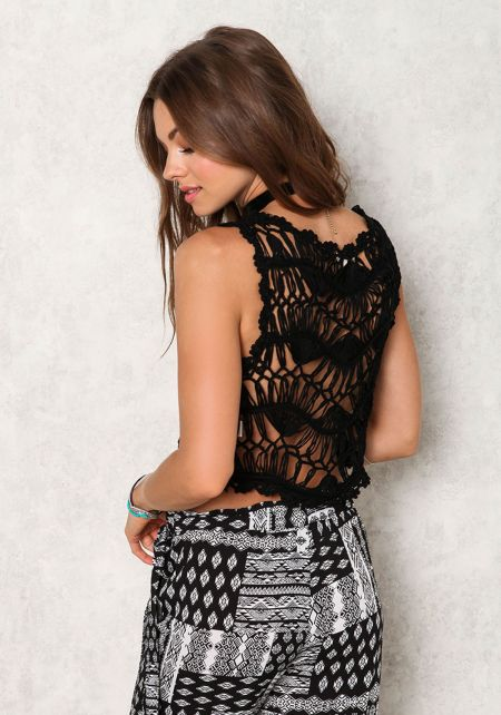 Black Crochet Distressed Back Crop Top
