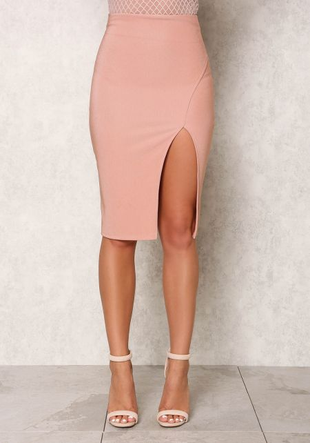 Mauve High Waist Side Slit Skirt