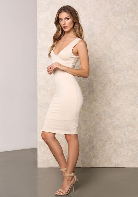 Cream Jersey Knit Bodycon Dress