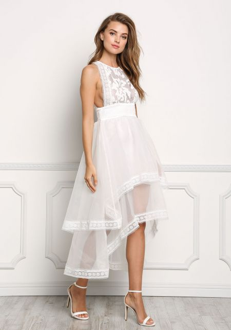 Ivory Organza Hi-Lo Layered Embroidered Dress