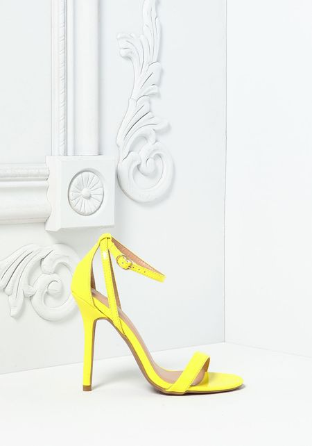 Yellow Leatherette Thin Ankle Strap Heels