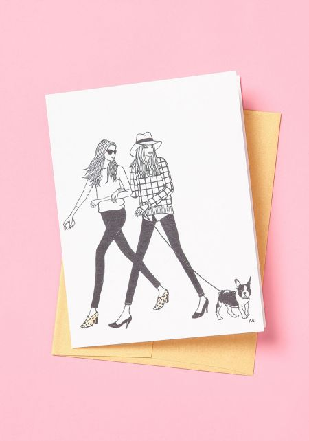 Two Babes & A Frenchie Blank Card