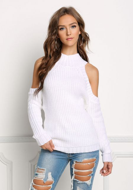 Off White Cold Shoulder Sweater Top