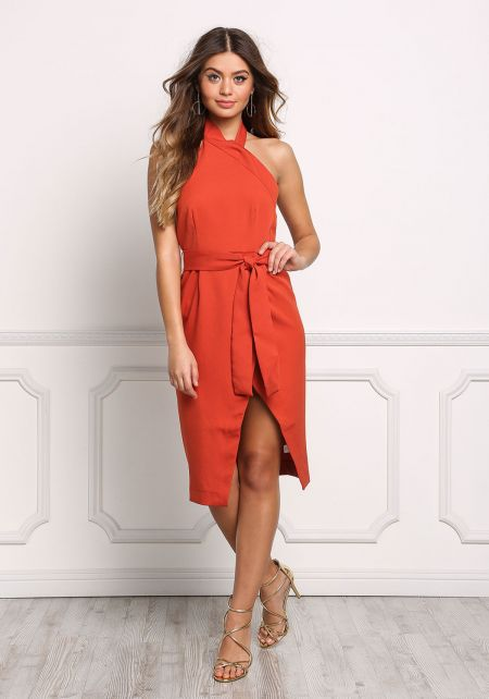 Rust Halter Faux Wrap High Slit Cinched Dress