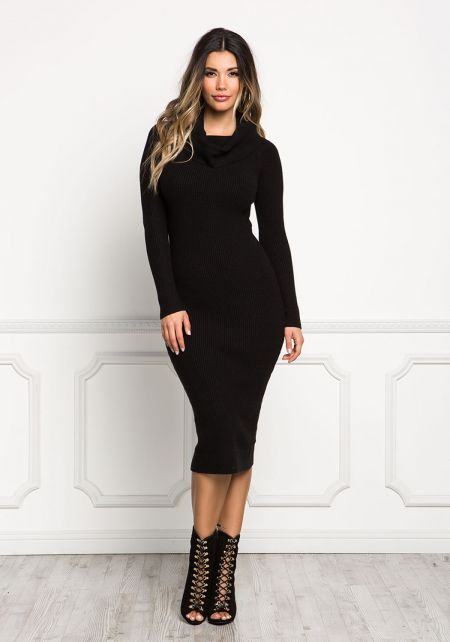 Black Turtleneck Ribbed Knit Bodycon Dress