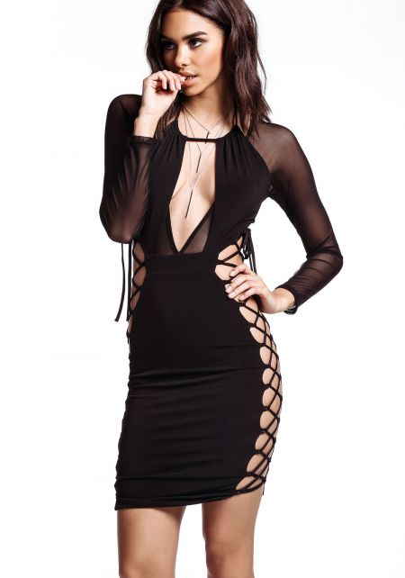 Black Sheer Lace Up Bodycon Dress