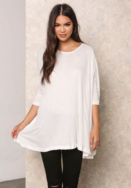 Off White Ribbed Knit Over-Sized Dolman Top