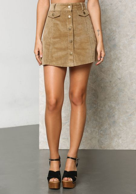 Camel Corduroy Button A-Line Mini Skirt