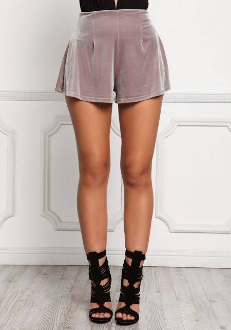 Taupe Flared Velvet Shorts