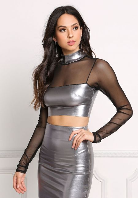 Silver Mesh & Leatherette Crop Top