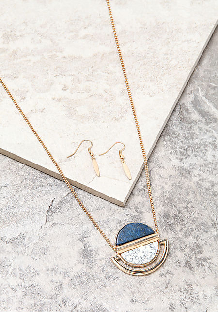 Gold Marble Contrast Necklace Set