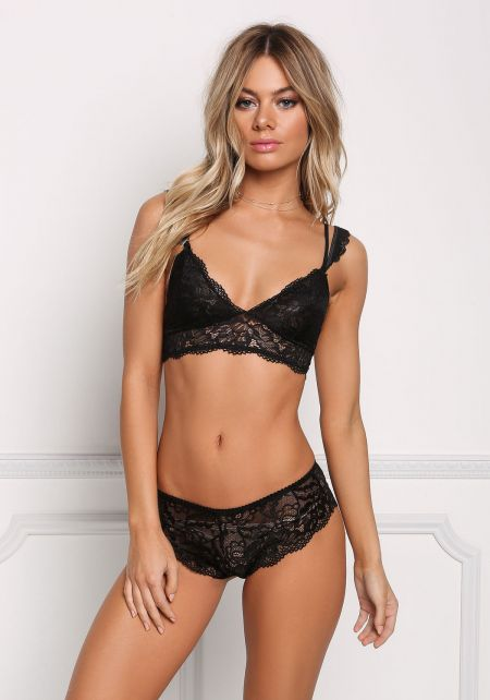 Black Double Strap Lace Bralette