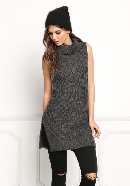 Charcoal Chunky Knit Sleeveless Tunic Top