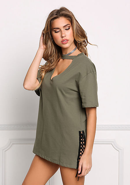 Olive V Cut Out Side Lace Up Tunic Top