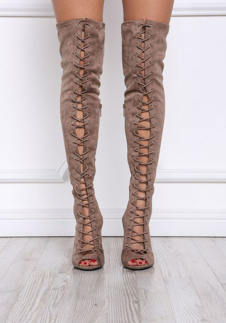 Taupe Suedette Lace Up Thigh High Boots