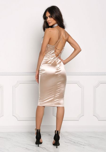 Champagne Satin Cross Strap Plunge Bodycon Dress