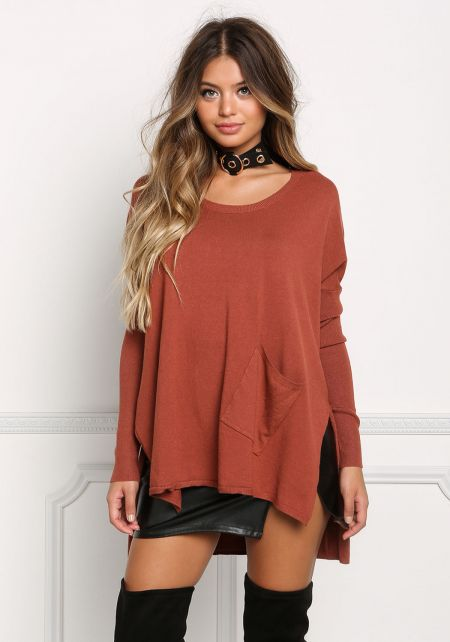 Brick Slouchy Hi-Lo Sweater Top