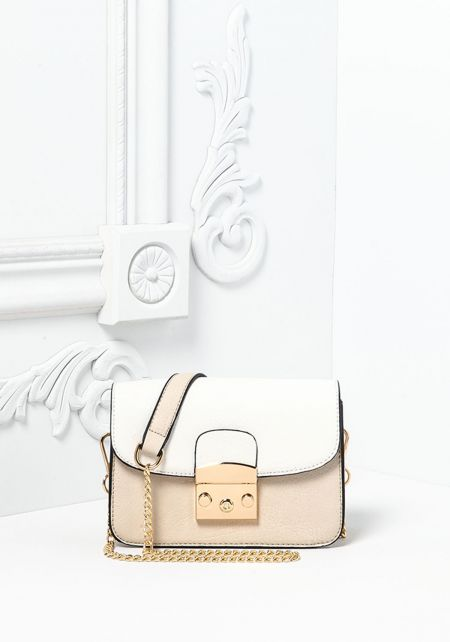 Beige Leatherette Button Snap Crossbody Bag