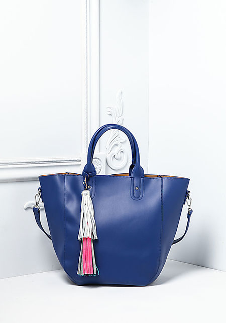 Blue Large Leatherette Tassel Tote Bag