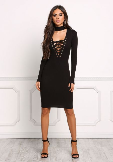 Black Choker Lace Up Plunge Bodycon Dress