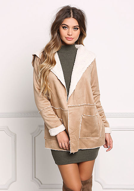 Khaki Suedette Faux Shearling Fold Over Jacket