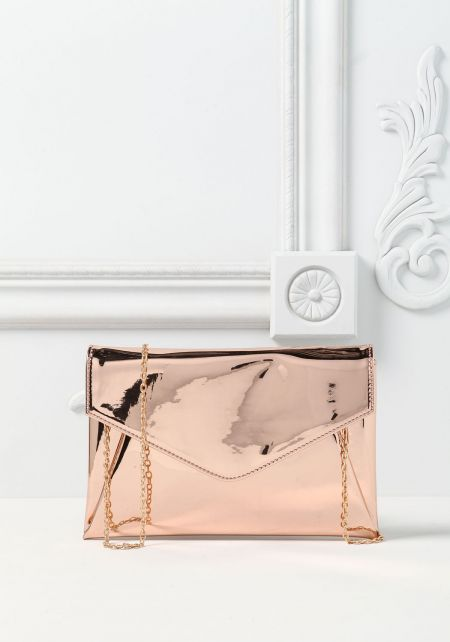 Rose Gold Envelope Chrome Clutch