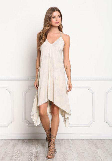 Beige Tie Dye Hi-Lo Lace Up Cami Dress