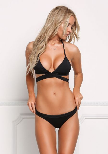 Black Low Rise Triangle Swimsuit Bikini Bottoms