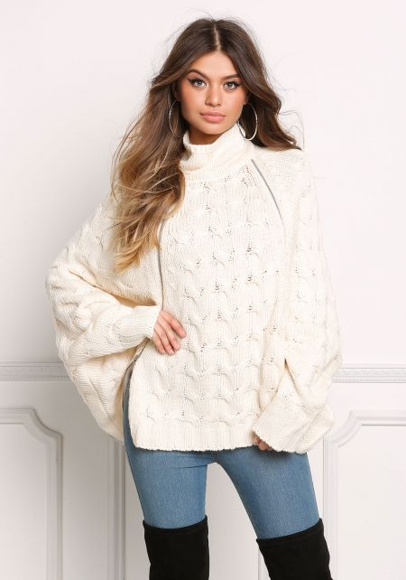Cream Over Sized Cable Knit Zipper Sweater Top