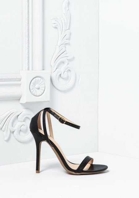 Black Textured Leatherette Thin Ankle Strap Heels